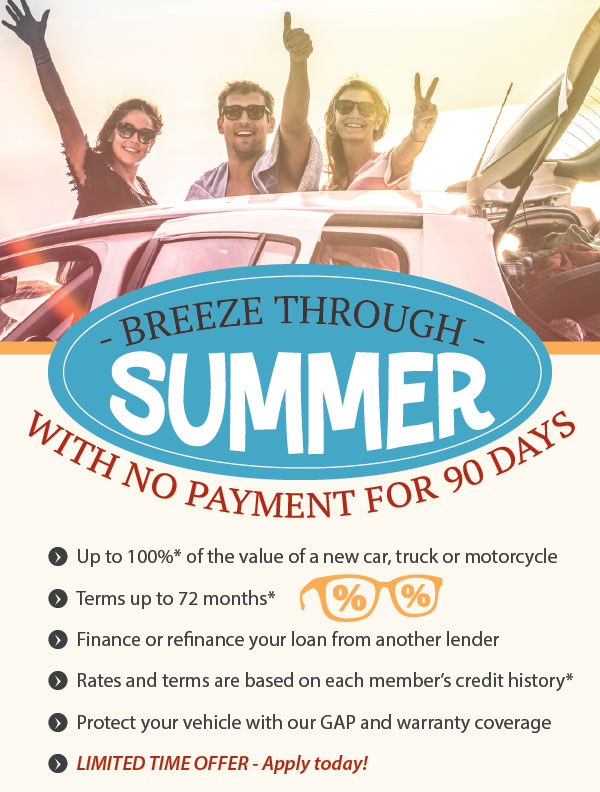 No Payment for 90 days on Vehicle Loans - Call for details
